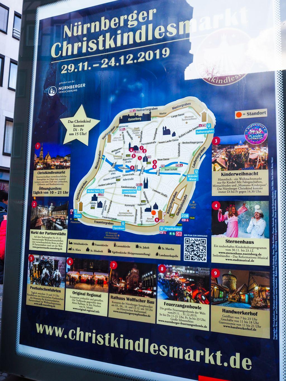 ニュルンベルクのクリスマスマーケットの地図