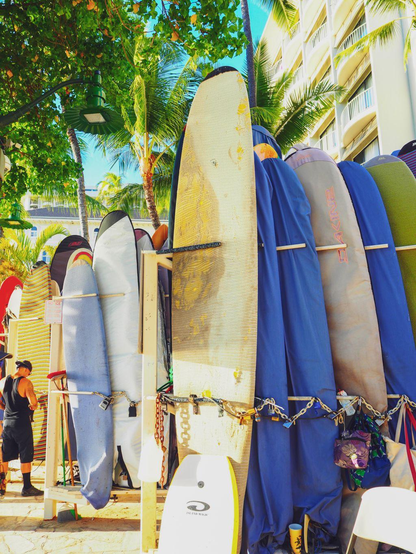 ワイキキビーチのサーフボード